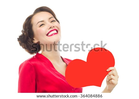 beauty portrait of attractive  caucasian smiling woman isolated on white studio shot red heart valentine's love