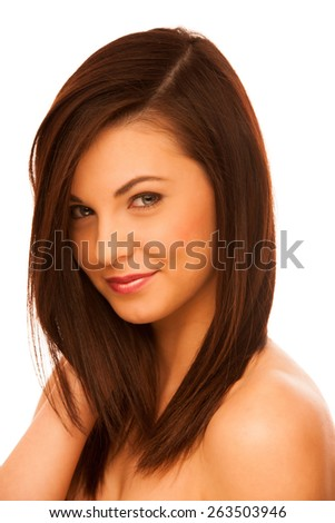 Beauty portrait of attractive caucasian woman with brown hair - stock photo