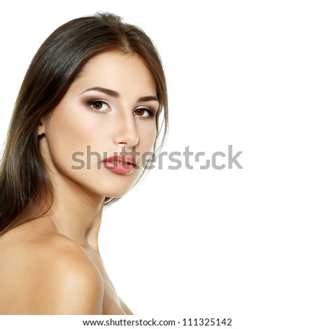 Beauty portrait of beautiful cheerful young fresh woman enjoying with long brown hair, face closeup. Isolated on white background - stock photo