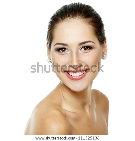 Beauty portrait of beautiful cheerful young fresh woman, face and shoulders closeup. Isolated on white background - stock photo