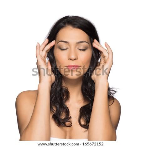 Beauty Portrait Of Beautiful Girl Meditating With Closed Eyes Isolated On White Background - stock photo
