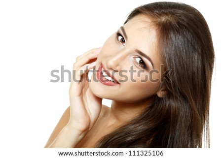 Beauty portrait of beautiful happy smiling young fresh woman and long brown hair. Isolated on white background - stock photo
