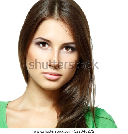 Beauty portrait of beautiful young fresh woman, face and shoulders closeup. Isolated on white background - stock photo