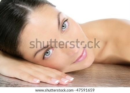 Beauty portrait of blue eyes brunette beautiful woman - stock photo