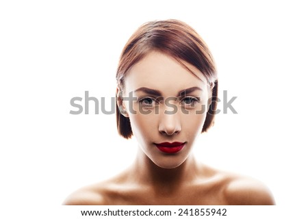 beauty portrait of caucasian woman isolated on white - stock photo