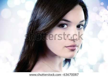 Beauty portrait of feminine pure young woman - stock photo