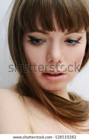 beauty portrait of longhaired girl - stock photo