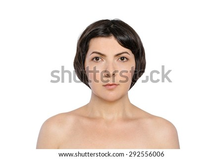 Beauty portrait of mature woman with clean fresh skin - stock photo