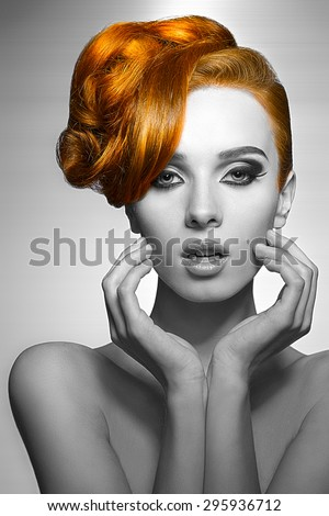 beauty portrait of pretty girl with elegant hair-style and stylish make-up, perfect skin, naked shoulders .black and white with part in color - stock photo