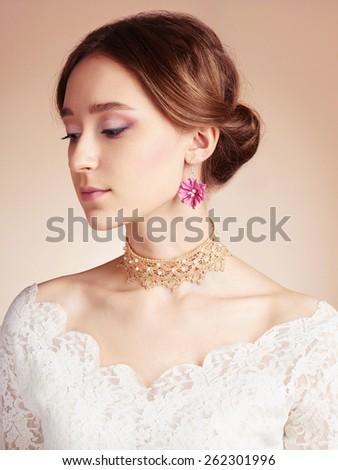 beauty portrait of Sensual Woman in bride dress.beautiful girl - stock photo
