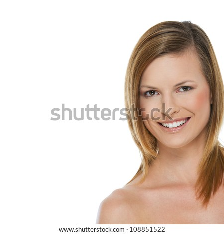 Beauty portrait of smiling girl isolated on white - stock photo