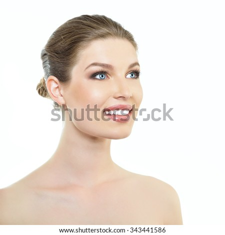 Beauty portrait of smiling girl with beautiful healthy face and blond hair  - stock photo