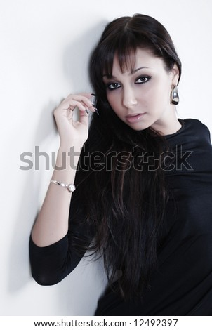 Beauty portrait of woman at white background