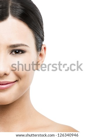 Beauty portrait of young asian woman smiling, isolated over white background. - stock photo