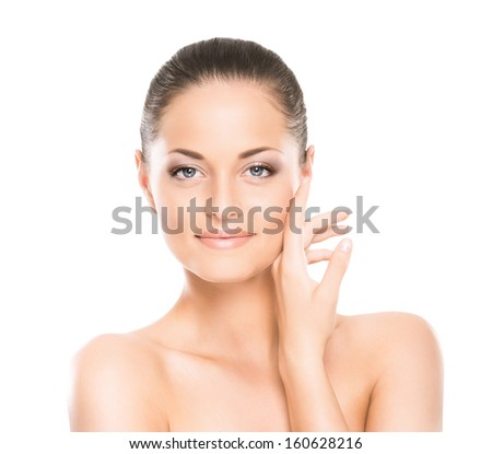 Beauty portrait of young, attractive, fresh, healthy and natural woman isolated on white - stock photo