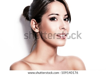 beauty portrait of young beautiful brunette woman,  close-up, studio shot, white background