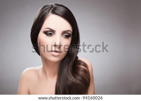 Beauty portrait of young beautiful girl - stock photo