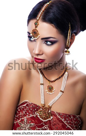 Beauty portrait of young beautiful woman in indian style