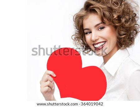 beauty portrait of young caucasian smiling happy woman make up face isolated on white studio shot red heart valentine's love - stock photo