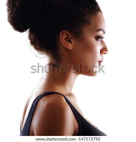 Beauty portrait of young mulatto fresh fashion woman - stock photo