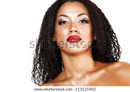 Beauty portrait of young mulatto fresh fashion woman with beautiful makeup over white background - stock photo