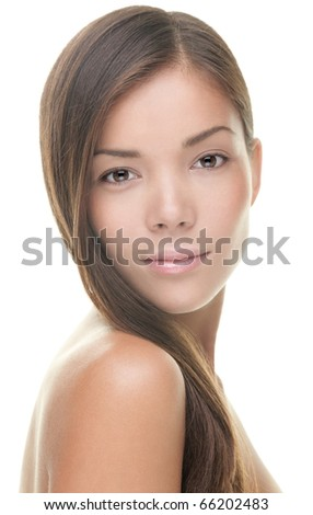Beauty portrait of young woman brunette isolated on white background. Asian / Caucasian model. - stock photo