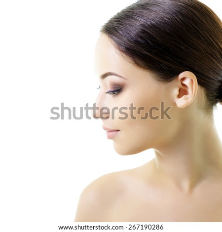 Beauty portrait of young woman with beautiful healthy face, studio shot of attractive girl  - stock photo