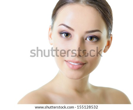 Beauty portrait of young woman with beautiful healthy face with nice day makeup looking at camera, studio shot of attractive girl over white background - stock photo