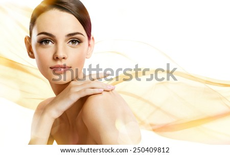 Beauty portrait / photoset of attractive brunette girl on beige background  - stock photo