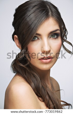 Beauty portrait woman with long hair. Isolated studio.