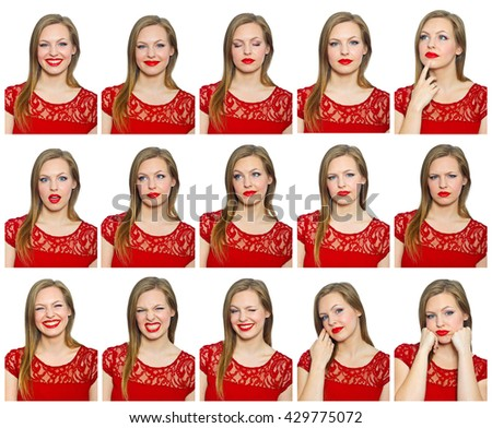 beauty portraits collection of glamorous attractive blond woman - stock photo