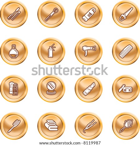 Beauty products icon set A series of design elements or icons relating to beauty, cosmetics makeup, hair care etc. - stock photo