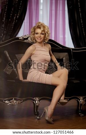 Beauty rich luxury woman like Marilyn Monroe - stock photo
