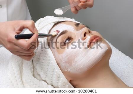beauty salon series. facial mask applying - stock photo