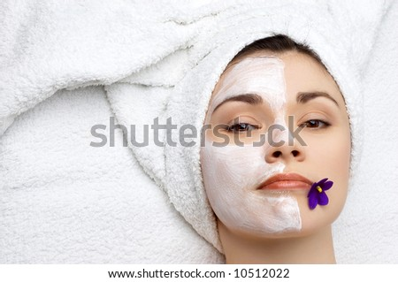 beauty salon series. facial mask, unfinished