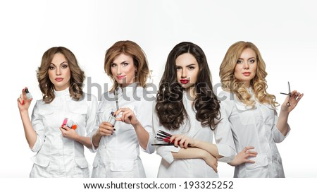 Beauty salon workers with professional tools - stock photo