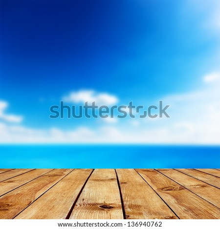 Beauty seascape under blue clouds sky. View from pier - stock photo