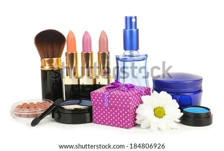 Beauty set gift isolated on white - stock photo