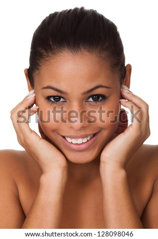 Beauty Shot Of Happy Young Woman. Isolated On White - stock photo