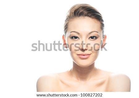 Beauty Shot of Pretty Mixed Woman - stock photo