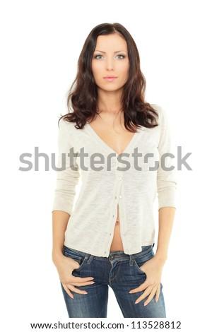 Beauty shot of sexy brunette woman - stock photo