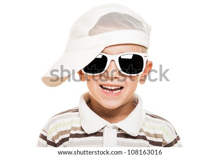 Beauty smiling child boy in sunglasses and cap white isolated - stock photo