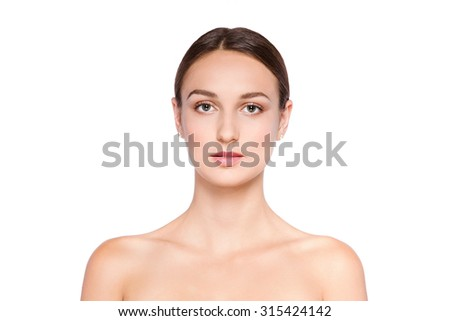 Beauty smiling girl portrait . Beautiful woman face. Looking at camera. Isolated on a white background. Pretty Girl Touching her Face - stock photo