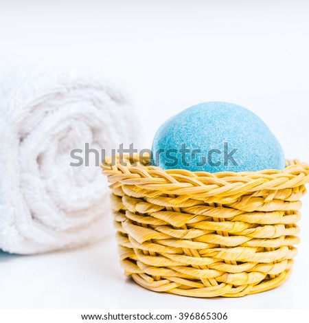 Beauty spa, bath bomb, aroma cosmetic soap with towel. Natural aromatherapy ball for care, wellness, health, treatment, hygiene, relaxation. Relax bathroom. Object for luxury therapy - stock photo
