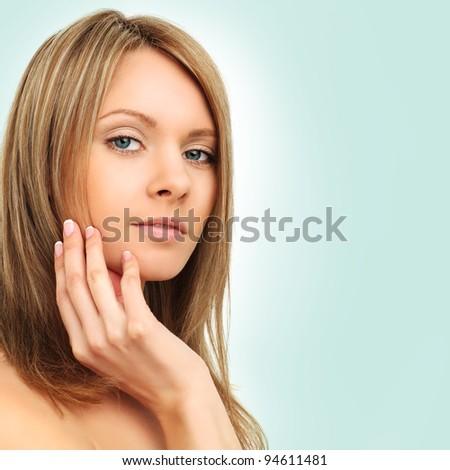 Beauty - spa girl on blue background - stock photo