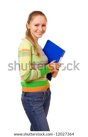 beauty student girl with folders over white