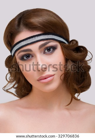 Beauty Studio shooting. White background. Headband.