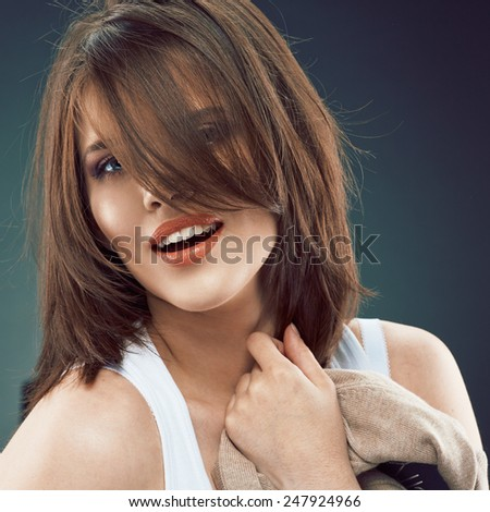 Beauty style look portrait of young woman face. - stock photo