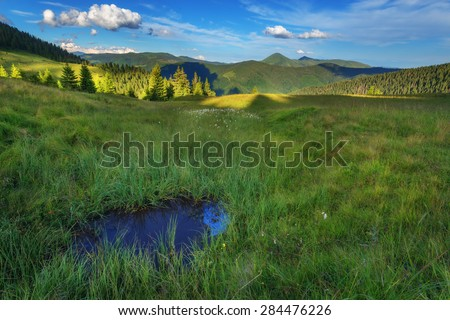 Beauty summer day in the Carpathian mountains with small lake and blue sky. Marmarosu ridge, Ukraine, Europe.  - stock photo
