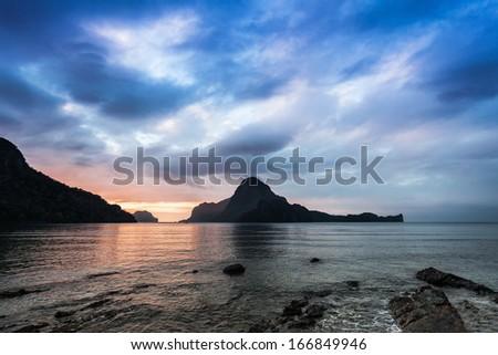 Beauty sunset in El Nido, Palawan, Philippines - stock photo
